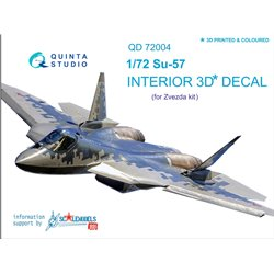 QUINTA STUDIO QD72004 1/72 SU-57 3D-Printed & coloured Interior on decal paper (for Zvezda kit) (version blue panel colour)