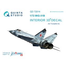 QUINTA STUDIO QD72014 1/72 MiG-31B 3D-Printed & coloured Interior on decal paper (for Trumpeter kit)