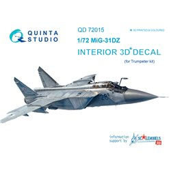 QUINTA STUDIO QD72015 1/72 MiG-31DZ 3D-Printed & coloured Interior on decal paper (for Trumpeter kit)