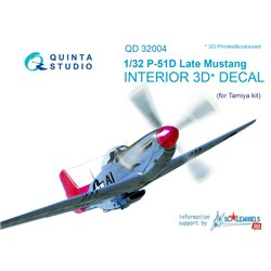 QUINTA STUDIO QD32004 1/32 P-51D (Late) 3D-Printed & col. Int. on decal paper