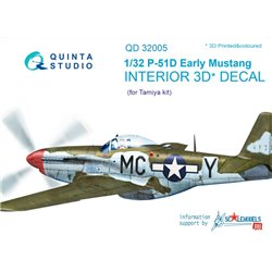 QUINTA STUDIO QD32005 1/32 P-51D (Early) 3D-Printed & col. Int. on decal paper