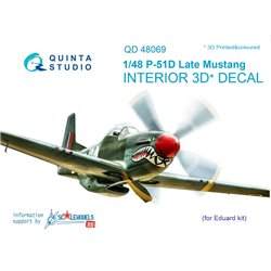 QUINTA STUDIO QD48069 1/48 P-51D (Late) 3D-Printed & col. Int. on decal paper