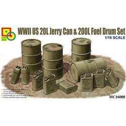 CLASSY HOBBY MC16008 1/16 WWII US 20L Jerry Can & 200L Fuel Drum Set