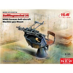 ICM 35714 1/35 Zwillingssockel 36, WWII German Anti-aircraft Machihe gun Mount (100% new molds)