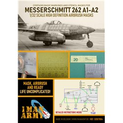 1ManArmy 32DET004 1/32 MASK for Messerschmitt 262 A1-A2