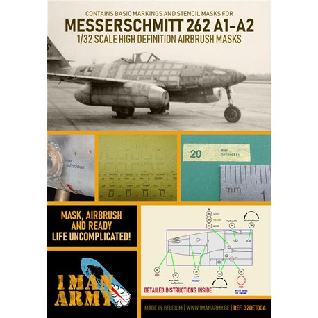 1 MAN ARMY 32DET004 1/32 MASK for Messerschmitt 262 A1-A2