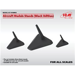 ICM A002 Aircraft Models Stands (Black Edition)(for '1/144, '1/72, '1/48 und '1/32)