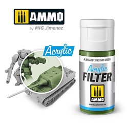 AMMO BY MIG A.MIG-0813 ACRYLIC FILTER Military Green 15 ml.