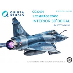 QUINTA STUDIO QD32009 1/32 Mirage 2000C 3D-Printed & coloured Interior on decal paper (for Kitty Hawk kit)