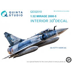 QUINTA STUDIO QD32010 1/32 Mirage 2000-5 3D-Printed & coloured Interior on decal paper (for Kitty Hawk kit)