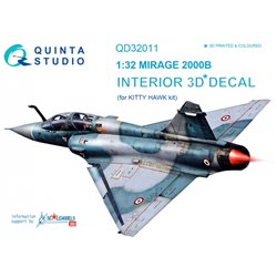 QUINTA STUDIO QD32011 1/32 Mirage 2000B 3D-Printed & coloured Interior on decal paper (for Kitty Hawk kit)