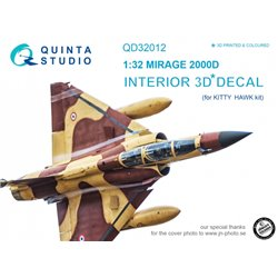 QUINTA STUDIO QD32012 1/32 Mirage 2000D 3D-Printed & coloured Interior on decal paper (for Kitty Hawk kit)