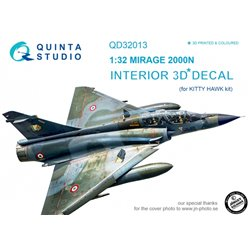 QUINTA STUDIO QD32013 1/32 Mirage 2000N 3D-Printed & coloured Interior on decal paper (for Kitty Hawk kit)