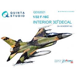 QUINTA STUDIO QD32021 1/32 F-16C 3D-Printed & coloured Interior on decal paper (for Academy kit)