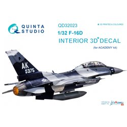 QUINTA STUDIO QD32023 1/32 F-16D 3D-Printed & coloured Interior on decal paper (for Academy kit)