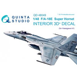 QUINTA STUDIO QD48049 1/48 F/A-18E 3D-Printed & coloured Interior on decal paper (for Hasegawa kit)