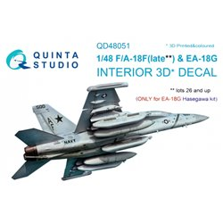 QUINTA STUDIO QD48051 1/48 F/A-18F Late / EA-18G 3D-Printed & coloured Interior on decal paper (for Hasegawa kit)