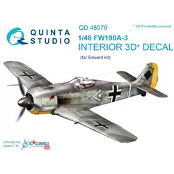 QUINTA STUDIO QD48079 1/48 FW 190A-3 3D-Printed & coloured Interior on decal paper (for Eduard kit)
