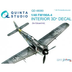 QUINTA STUDIO QD48080 1/48 FW 190A-4 3D-Printed & coloured Interior on decal paper (for Eduard kit)
