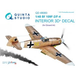 QUINTA STUDIO QD48083 1/48 Bf 109F-2/F-4 3D-Printed & coloured Interior on decal paper (for Eduard kit)