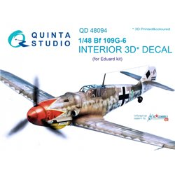 QUINTA STUDIO QD48094 1/48 Bf 109G-6 3D-Printed & coloured Interior on decal paper (for Eduard kit)
