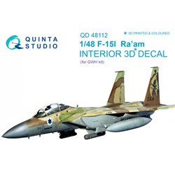 QUINTA STUDIO QD48112 1/48 1/48 F-15I 3D-Printed & coloured Interior on decal paper (for GWH kit)